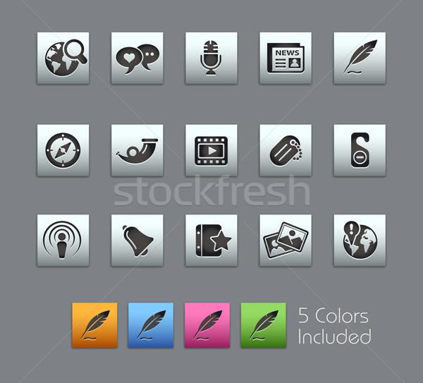Stock fotó: Közösségi · média · eps · akta · szín · különböző · rétegek