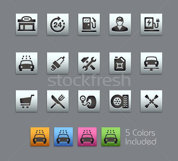 Tankstation iconen vector bestand kleur icon Stockfoto © Palsur