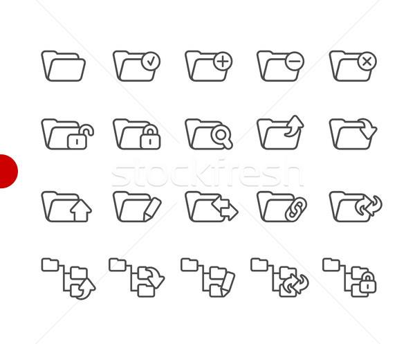 Сток-фото: папке · иконки · набор · красный · точки · вектора