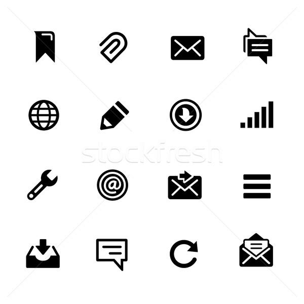 Mensajes iconos negro iconos vectoriales digital impresión Foto stock © Palsur