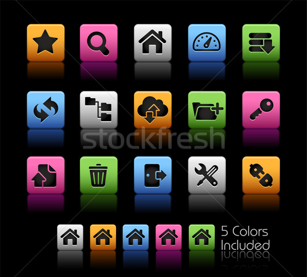 Ftp hosting simgeler renk kutu eps Stok fotoğraf © Palsur