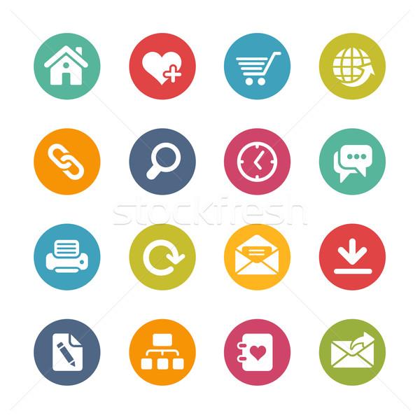 Интернет иконы свежие цветами вектора иконки Сток-фото © Palsur