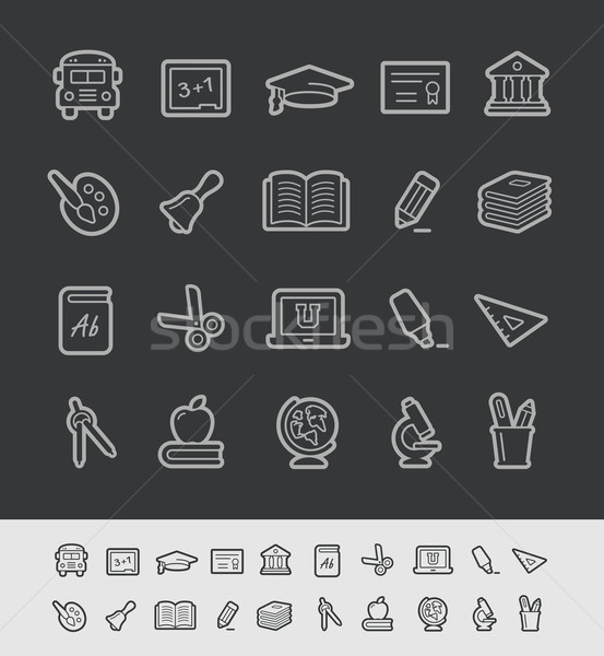 School and Education Icons -- Black Line Series Stock photo © Palsur