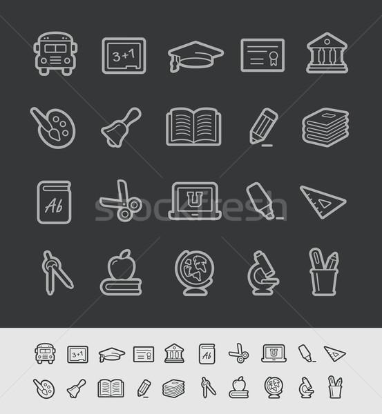 Stockfoto: School · onderwijs · iconen · zwarte · lijn · vector