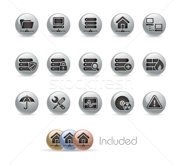Stock photo: Network, Server & Hosting // MetalRound Series
