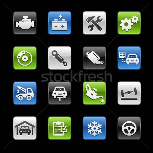 Auto dienst glanzend knoppen vector iconen Stockfoto © Palsur