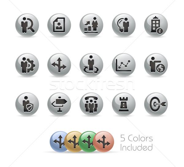Business Strategies Icons -- Metal Round Series Stock photo © Palsur
