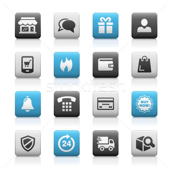 Iconen mat vector web mobiele afdrukken Stockfoto © Palsur