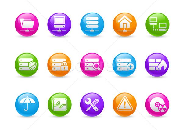 Сток-фото: сеть · сервер · хостинг · радуга · профессиональных · иконки