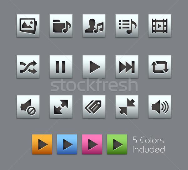 Medya oyuncu simgeler vektör dosya renk Stok fotoğraf © Palsur