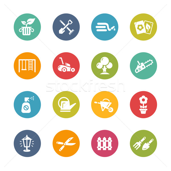 Gardening Icons -- Fresh Colors Series Stock photo © Palsur