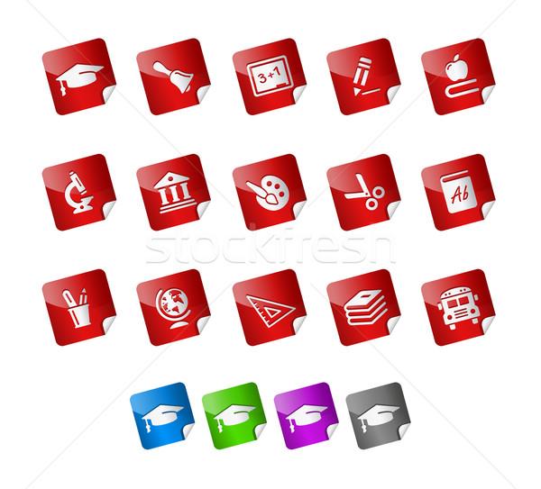 éducation icônes autocollants vecteur fichier couleur Photo stock © Palsur