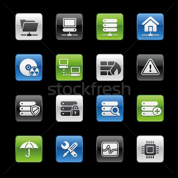 Stock fotó: Hálózat · szerver · hosting · ikonok · profi · weboldal