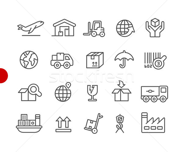 Industry and Logistics Icons // Red Point Series Stock photo © Palsur
