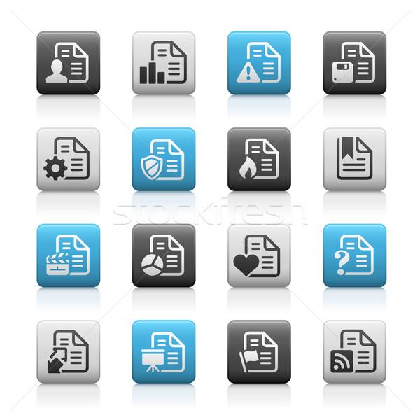 Documenten iconen mat eps bestand knoppen Stockfoto © Palsur
