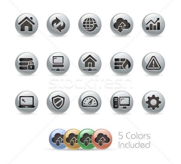 Web promoteur icônes métal vecteur fichier Photo stock © Palsur