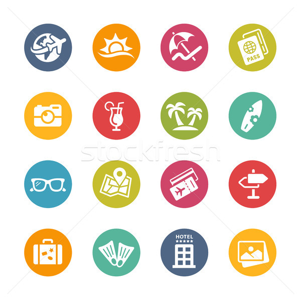 Summer Vacations Icons // Fresh Colors Series Stock photo © Palsur