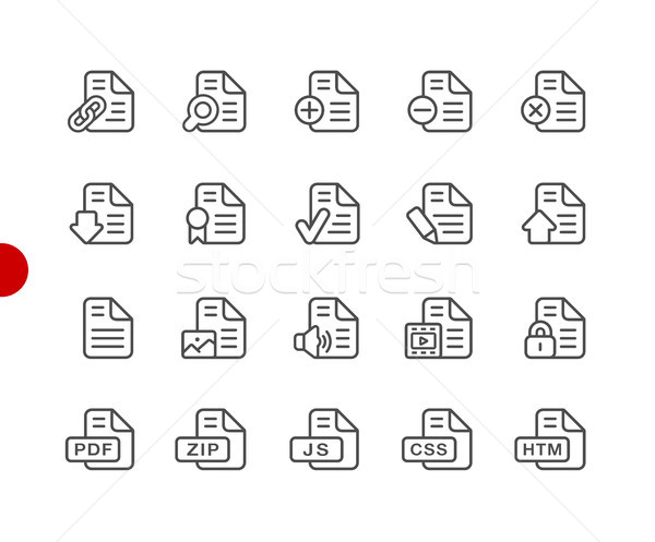 Documents Icons - Set 1 of 2 // Red Point Series Stock photo © Palsur