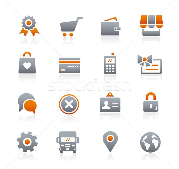 Online bolt ikonok grafit vektor digitális nyomtatott Stock fotó © Palsur