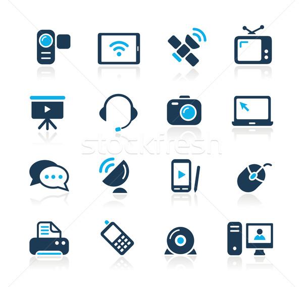 Kommunikáció ikonok azúr vektor háló nyomtatás Stock fotó © Palsur