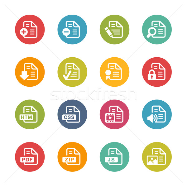 Documents Icons - 1 -- Fresh Colors Series Stock photo © Palsur