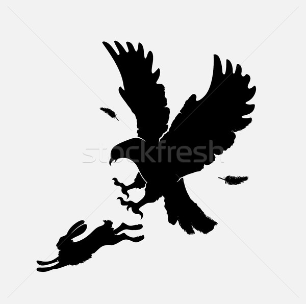 silhouettes of an attacking eagle Stock photo © Panaceadoll