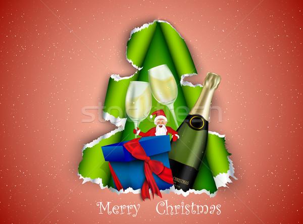 Mikulás ajándék karácsonyfa étel mosoly boldog Stock fotó © Panaceadoll