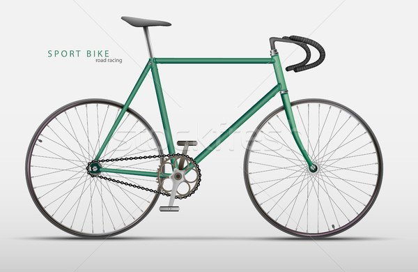 Stock photo: Vector realistic racing bicycle road racing on a light background