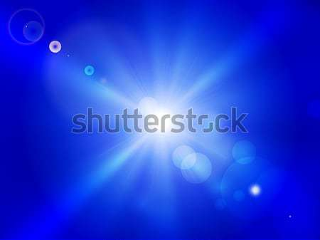 Vector sun on blue sky with lenses flare. Stock photo © Panaceadoll