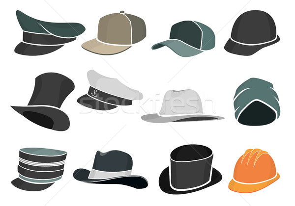 set of colored flat hats military and civilian Stock photo © Panaceadoll