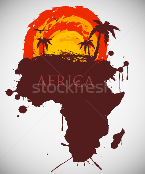 Afrika szavanna állatvilág növényvilág égbolt textúra Stock fotó © Panaceadoll