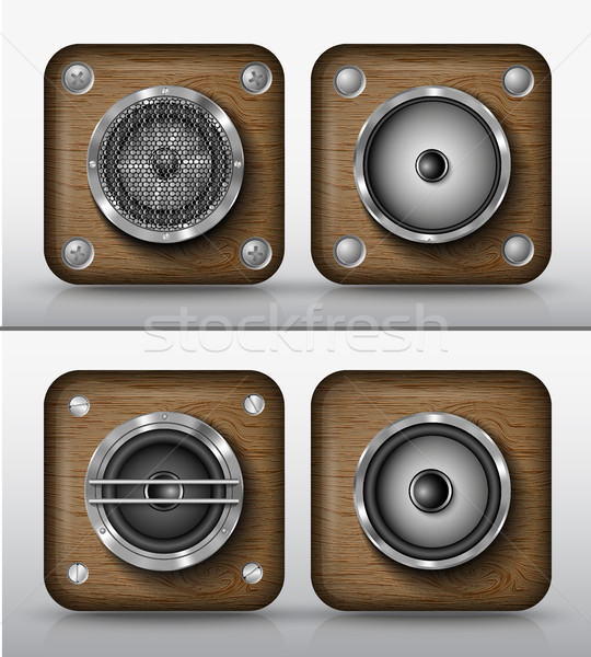 set of vector icons applications of wood, speakers Stock photo © Panaceadoll