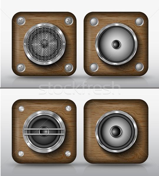 Foto stock: Conjunto · vetor · ícones · aplicações · madeira · alto-falantes