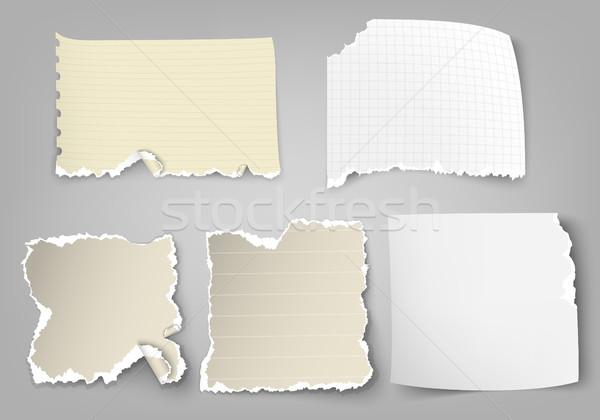 Stukken gescheurd papier licht achtergrond groep vintage Stockfoto © Panaceadoll