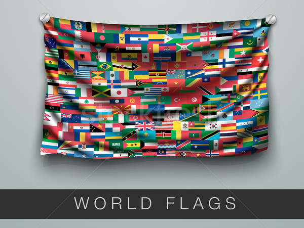 All flags of the world in one flag with shadow Stock photo © Panaceadoll