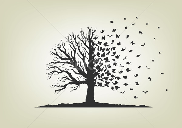 dried tree with branches and flying butterflies Stock photo © Panaceadoll