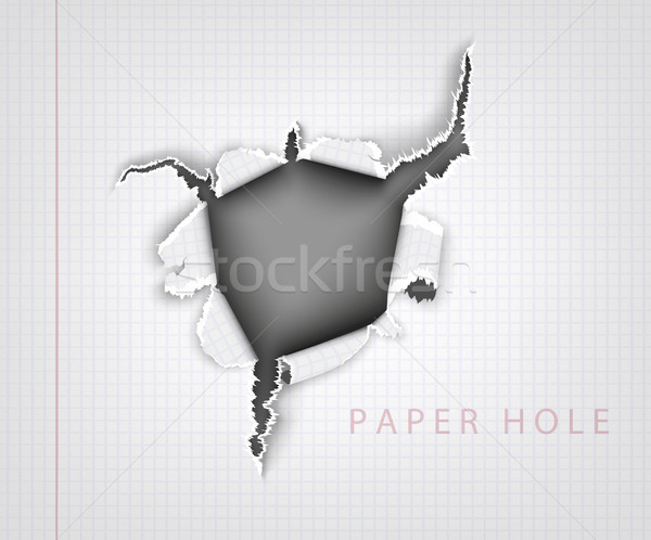 Papel rasgado agujero cuaderno hoja jaula resumen Foto stock © Panaceadoll