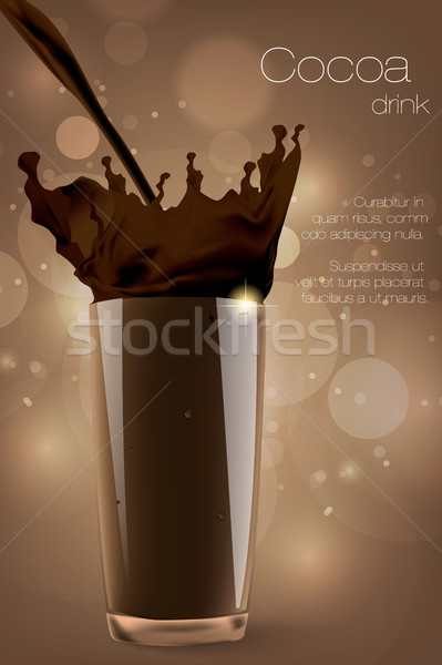 Pouring a glass of cocoa in the coffee background Stock photo © Panaceadoll