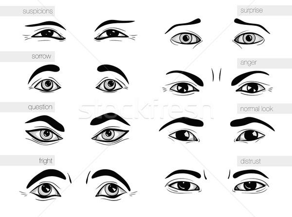 Leírás emberi érzelmek szemek nő könyv Stock fotó © Panaceadoll