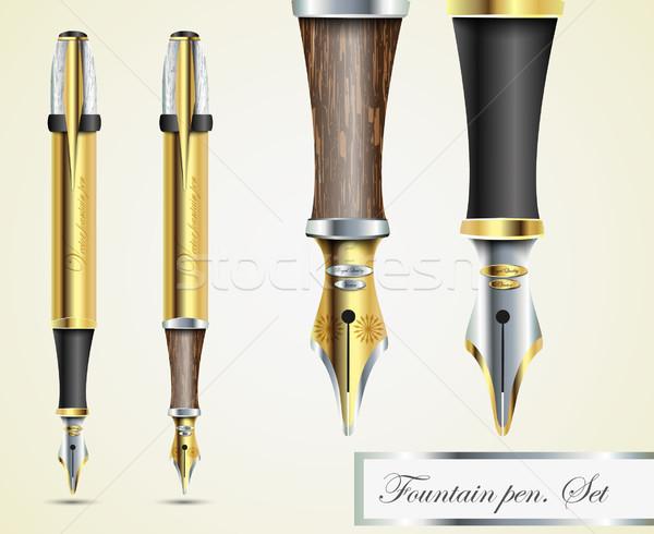 Realista prata madeira vetor lápis escritório Foto stock © Panaceadoll