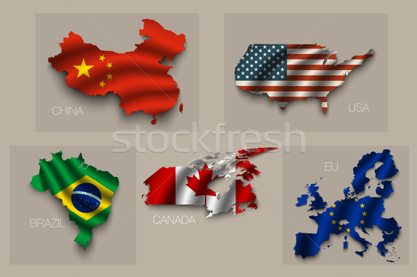 Flags in the form of states with shadows Stock photo © Panaceadoll