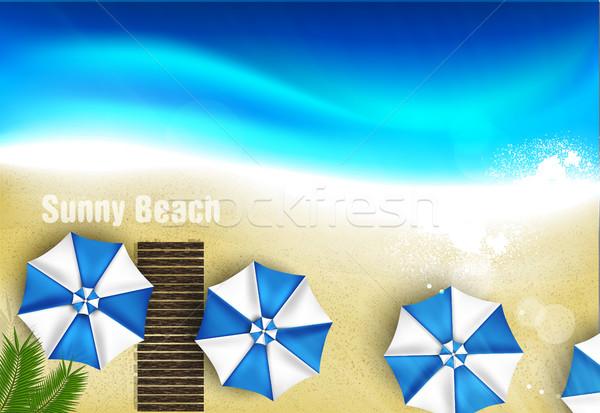 Couple of umbrellas on the beach, graphic art Stock photo © Panaceadoll