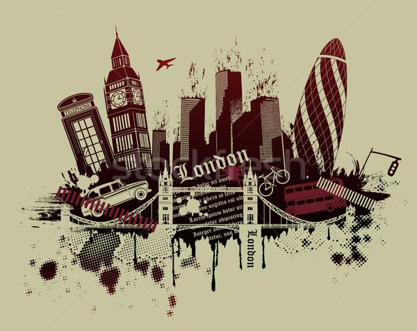 Londen grunge stijl illustratie gebouw silhouet Stockfoto © Panaceadoll