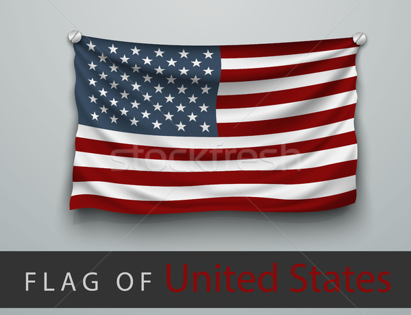 FLAG OF USA battered, hung on the wall, screwed screws Stock photo © Panaceadoll