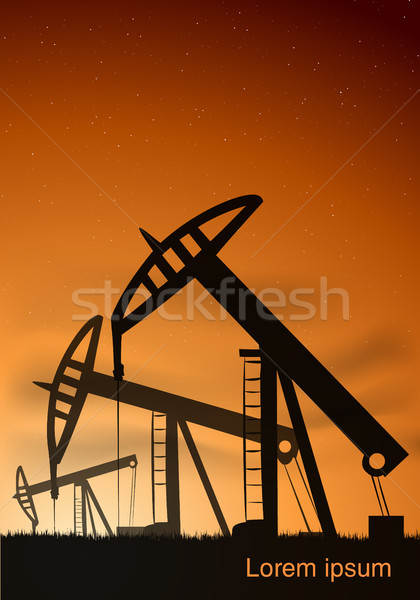 Oil production from the towers at sunset and sunrise Stock photo © Panaceadoll