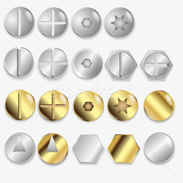 Bolts And Screws, Isolated On White Background, Vector Illustration Stock photo © Panaceadoll