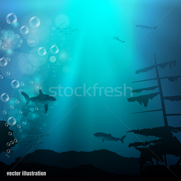 Beautiful coral reef and silhouettes of diver and school of fish in a blue sea Stock photo © Panaceadoll