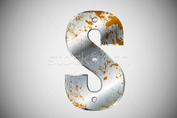 Fém levelek ábécé technológia felirat ipari Stock fotó © Panaceadoll