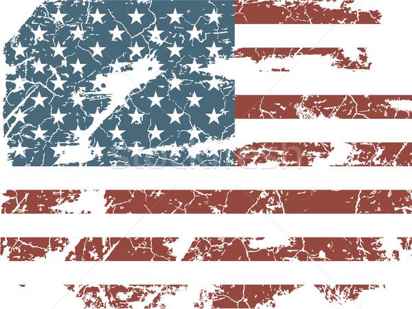Vintage amerykańską flagę tle banderą czerwony retro Zdjęcia stock © Panaceadoll