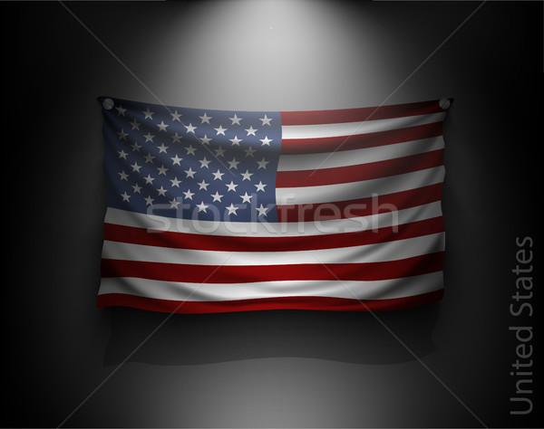 Banderą ciemne ściany Spotlight Zdjęcia stock © Panaceadoll